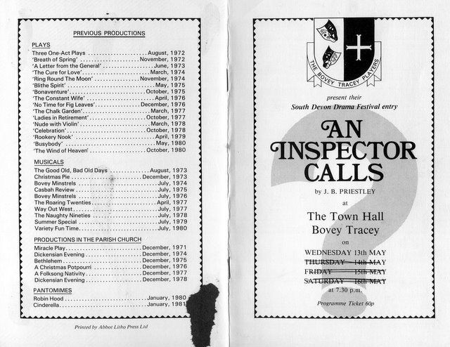 an inspector calls dramatic monologue Dramatic structures and devices in an inspector calls the play opens on a luxurious and beautifully decorated dining room, its in here that we are introduced to the birlings and gerald croft, all of them are successful and very rich.